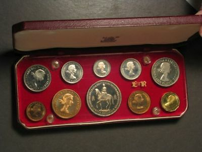 GREAT BRITAIN 1953 10 Piece Gem Proof Set in Original Box - USA SHIPPING ONLY