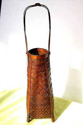"Antique-Vintage Japanese IKEBANA BASKET Tall Handle 18"" BAMBOO BASKET Hana Kago"