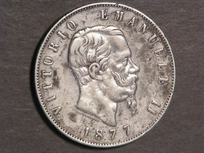 ITALY 1877R 5 Lire Umberto Silver Crown VF