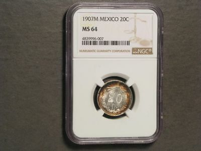 MEXICO 1907MoM 20 Centavos Silver NGC Slabbed MS-64