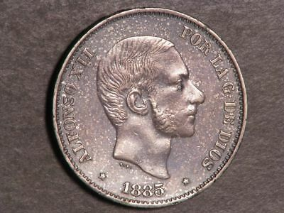PHILIPPINES 1885 50 Centimos Silver XF