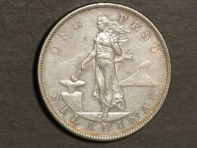 PHILIPPINES 1905S 1 Peso Silver Crown XF-AU