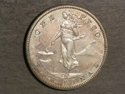 PHILIPPINES 1911S 1 Peso Silver Crown AU-UNC - Key Date