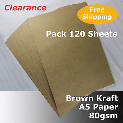 120 Sheets Kraft Brown ReCycled Enviro PAPER A5 Size 80gsm #S0104 #D1