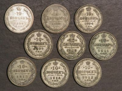 RUSSIA 1898-1914 10 Kopeks Silver - 9 Coins/Dates