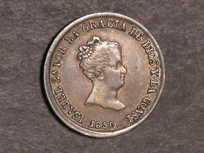 SPAIN 1850-RD 2 Reales Silver VF