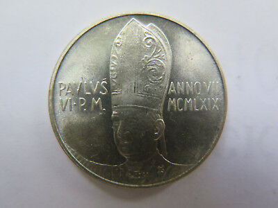 1969 VATICAN CITY SILVER 100 LIRE COIN in UNCIRCULATED CONDITION