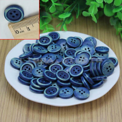 100Pcs 4 Holes Dark Blue Wood Wooden Round Buttons Sewing Scrapbooking 15mm GZJ