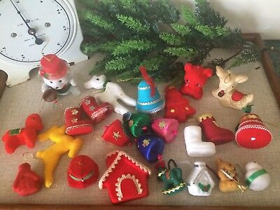Vintage Christmas Tree Ornaments Flocked Pipe Cleaners