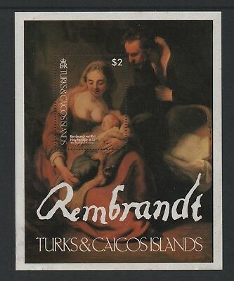 "Turks & Caicos 1979 Works Of Art (""holy Family"" By Rembrandt) M/sheet *mnh*"