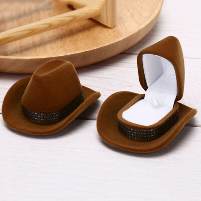 Cowboy Hat Shape Velvet Display Box Jewelry Case For Necklace Earring Ring  LC