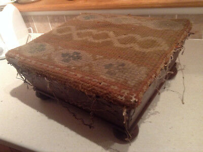 Antique Wooden Footstool with woollen crossstitch covering