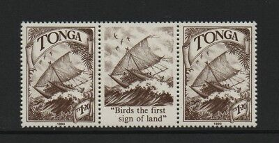 TONGA 1990 1p.20 VALUE - POLYNESIAN VOYAGES OF DISCOVERY *VF MNH GUTTER PAIR*