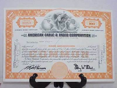 American Cable & Radio Corporation Stock Certificate 100 Shares 1956 Free Ship