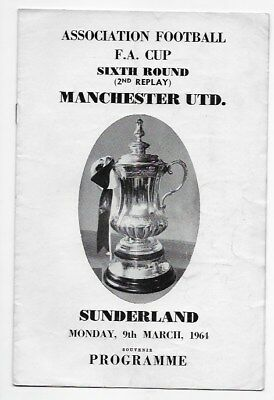 Collection 1964 Manchester United V Sunderland Fa Cup Programmes Inc Pirate