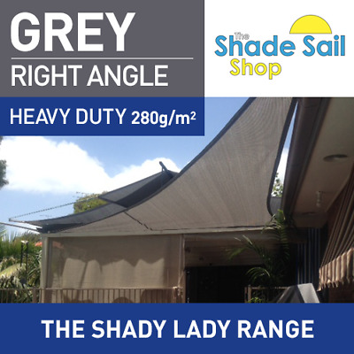 Right Angle Grey 5 X 7 x 8.6 m Shade Sail Sun Heavy Duty 280GSM 5X7X8.6m Grey