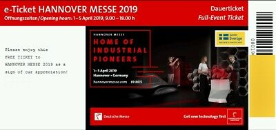 ✅ 1x Dauerkarte Code Hannover Messe 01.04 - 05.04 2019 Ticketcode Ticket  PAYPAL
