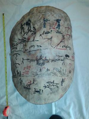 Mid 20Th C? American Indian Pictorial Blackfoot Hide Shield.