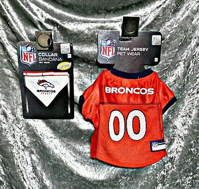 0b1dcb7da S Nfl Denver Broncos Cat Dog Pet 2Pc Lot Set Officially Licensed