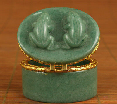 Rare chinese Old Jade statue Jewel Ring Box Noble gift