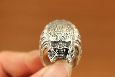25g Rare chinese Fine S925 silver Alien Head Statue Ring cool noble gift