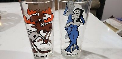 1975 Holly Farms Chicken Glass Bullwinkle The Moose & Natasha From Rocky Show