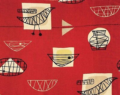 Vintage Marian Mahler 50s Fabric David Whitehead Bird Cage DIY wall art 53