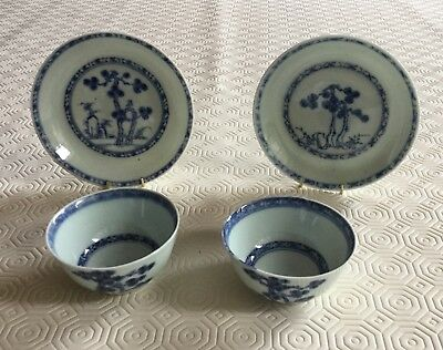 Nanking Cargo Chinese 1752. Pair of small tea bowls with saucers.