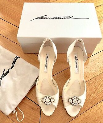 BRIAN ATWOOD ivory white satin diamante wedding formal shoes heels pumps Size 36