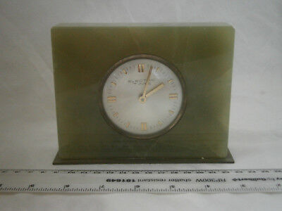 """""""Electric Time"""" green onyx /marble small mantle clock, floating balance quartz."""