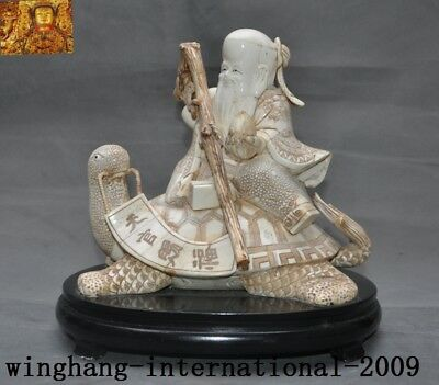 """Chinese temple Cattle Bone Carved sit turtle longevity God Old man """"天官赐福"""" statue"""