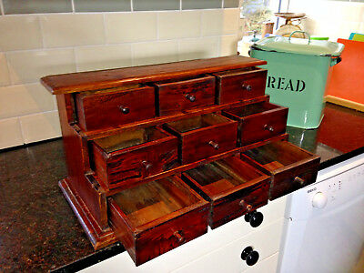 Rustic/Country Wooden Bank Of Drawers, Pigeon Hole Drawers