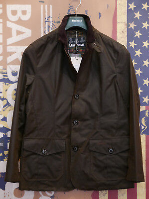 £229 Mens Barbour Lutz 8oz Oban waxed olive green smart jacket size S Small 36""