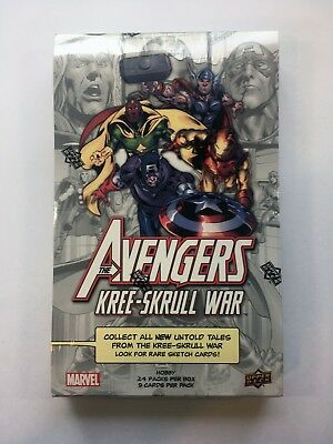 MARVEL AVENGERS KREE SKRULL WAR HOBBY BOX 24 PACKS Trading Cards FACTORY SEALED!
