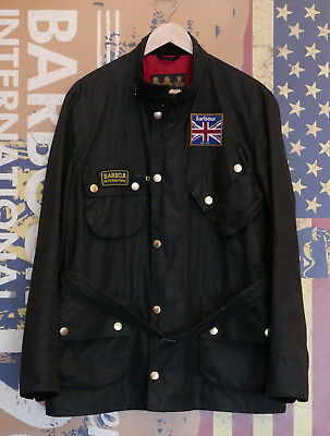 £279 Mens Barbour International Union Jack black waxed jacket size Large XL vgc