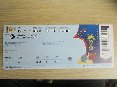 Ticket World Cup 2018 Final : France - Croatia With Names Perfect Condtion !!!