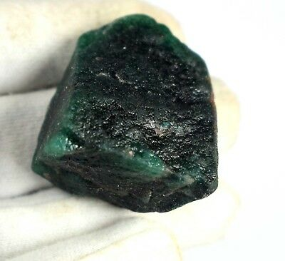 Green Emerald Colombian Gemstone Natural Rough 185 Ct 38 x 31 mm Certified D5809