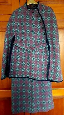 Vintage Welsh tapestry weave turquoise, pink & green wool cape and skirt suit