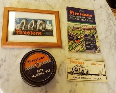 Antique Firestone Advertising Cards,Tin,Book..Lot of 4 Free Ship! Circa 1930's