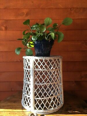 Vintage White Wicker Plant Stand  Accent Table