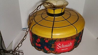 Vintage 1975 SCHMIDT BEER Hanging Light faux Stained Glass