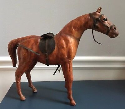 """Vintage Large 15"""" Long Leather Wrapped Display Horse"""