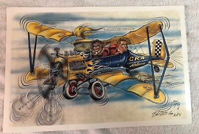 Artist Bob McCoy signed print, CRA Calif Roadster Assn. Airlines  18x12
