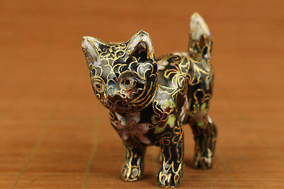 chinese old cloisonne hand carved cat statue netsuke collectable ornament