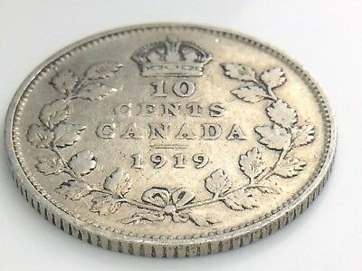 1919 Canadian Circulated Business Strike George V Silver Ten Cent Coin!
