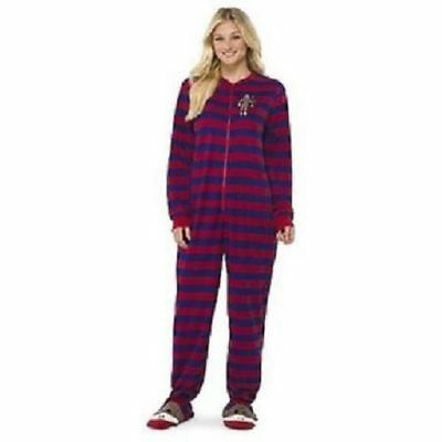Adult NICK AND NORA Red Blue Fleece Sock Monkey One Piece Footed Pajamas PJs  XL 7c762d504