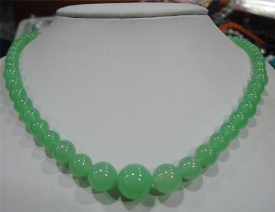 """Light Green 6-14mm Natural Emerald Round Beads Necklace 18"""""""