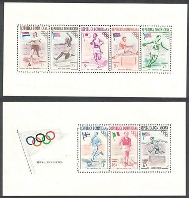 SALE Dominican Rep. Olympic Games 1st issue Famous Athletes Flags 2 MSs D1 FREE