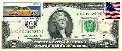 Money Us $2 Dollars 2013 Note Chicago Stamp Cancel Car The Fiat 125 Poland 1976
