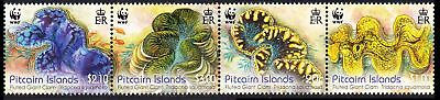 SALE Pitcairn WWF Fluted Giant Clam strip of 4v MNH SG#865a FREE POSTAGE